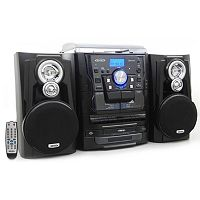 Jensen Bluetooth 3-Speed Stereo Turntable System with CD Changer & Dual Cassette Deck
