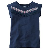 Girls 4-7 Carter's Embroidered Aztec Fringe Tee
