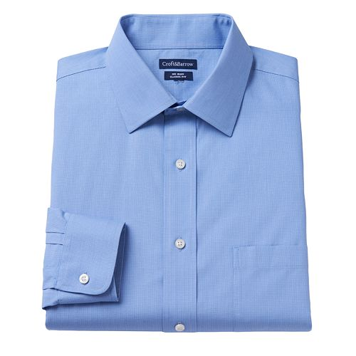 Men's Croft & Barrow® Classic-Fit Dogbone Textured No-Iron Spread-Collar Dress Shirt