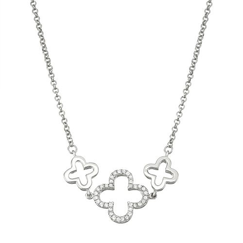 Sterling Silver Cubic Zirconia Clover Necklace