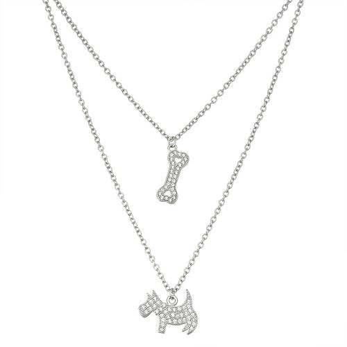 Sterling Silver Cubic Zirconia Dog & Bone Layered Necklace