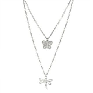 Sterling Silver Cubic Zirconia Butterfly & Dragonfly Layered Necklace