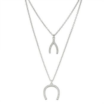 Sterling Silver Cubic Zirconia Wishbone & Horseshoe Layered Necklace