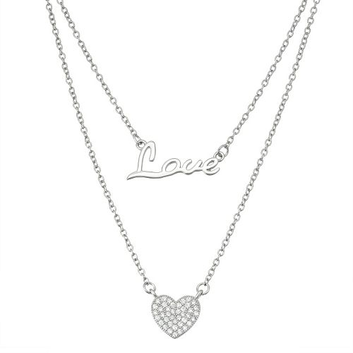 """Sterling Silver Cubic Zirconia """"Love"""" & Heart Layered Necklace"""