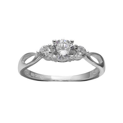 PRIMROSE Sterling Silver Cubic Zirconia 3-Stone Ring