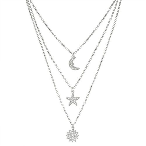 Sterling Silver Cubic Zirconia Sun, Star & Moon Layered Necklace