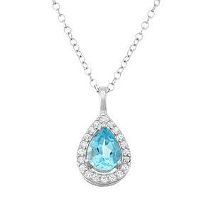 Sterling Silver Blue & White Topaz Teardrop Halo Pendant Necklace