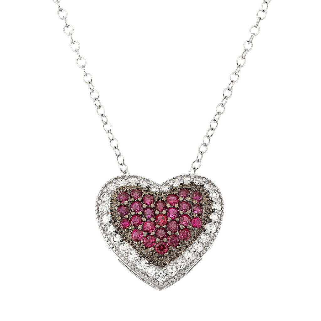 Two Tone Sterling Silver Lab-Created Ruby & Lab-Created White Sapphire Heart Pendant Necklace
