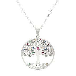 Sterling Silver Lab-Created Gemstone & Cubic Zirconia Tree of Life Pendant