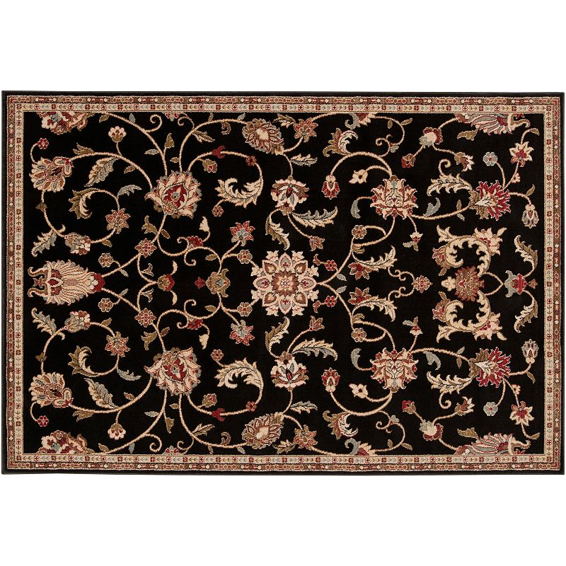 Decor 140 Sabin Classic Framed Floral Rug, Black, 2X3 Ft
