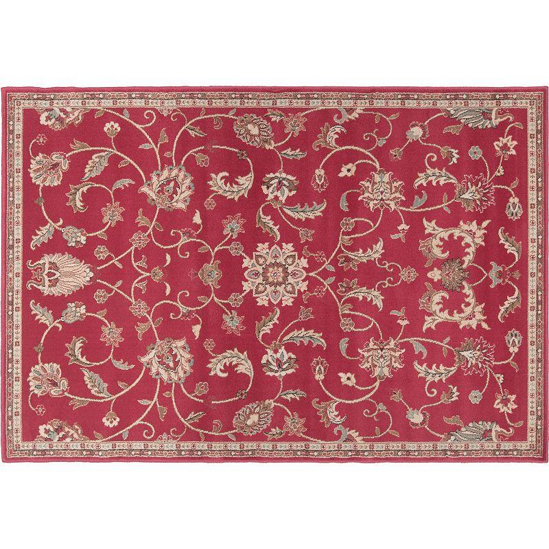 Decor 140 Sabin Classic Framed Floral Rug, Dark Red, 3X8 Ft