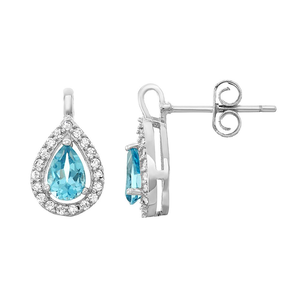 Sterling Silver Blue & White Topaz Teardrop Halo Stud Earrings
