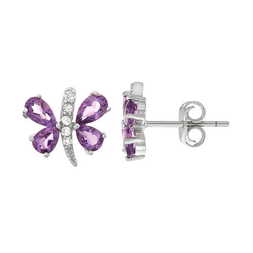 Sterling Silver Amethyst & White Topaz Butterfly Stud Earrings