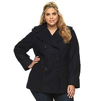 Plus Size Croft & Barrow® Double-Breasted Wool Blend Peacoat