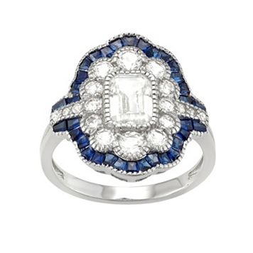Sterling Silver Lab-Created White & Blue Sapphire Scalloped Ring