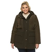 Plus Size Apt. 9¨ Hooded Quilted Wool Blend Anorak Jacket