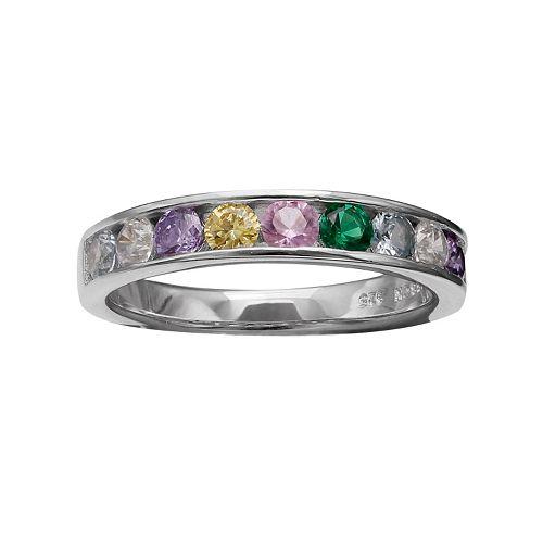 PRIMROSE Sterling Silver Multicolor Cubic Zirconia Ring