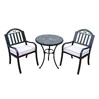 Rochester Outdoor Bistro Table & Cushioned Chair 3-piece Set