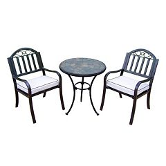 Rochester Outdoor Bistro Table & Cushioned Chair 3 pc Set
