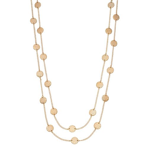 SONOMA Goods for Life™ Long Hammered Disc Station Necklace