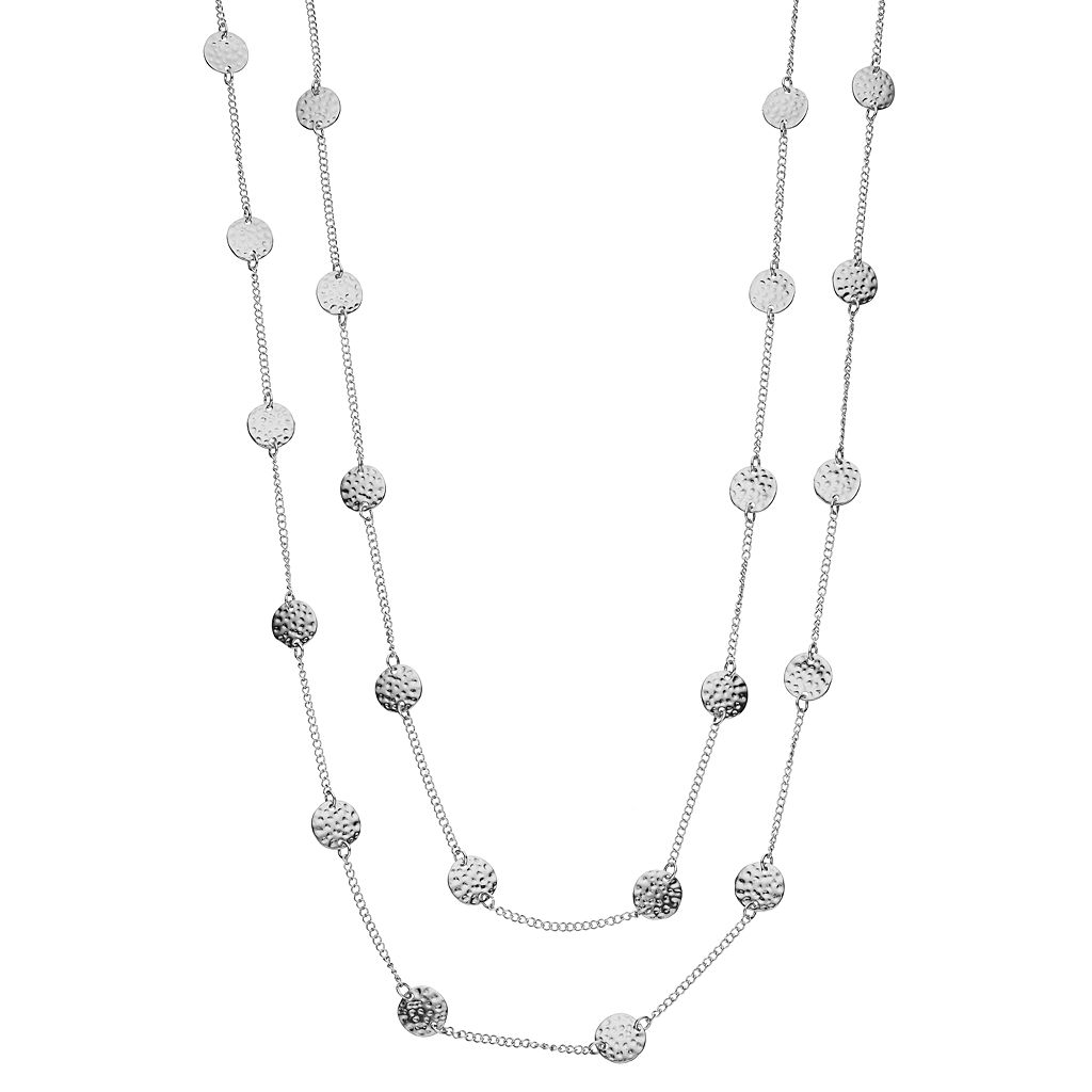Long Hammered Disc Station Necklace