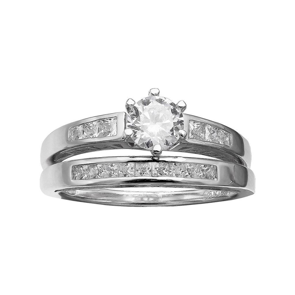 PRIMROSE Sterling Silver Cubic Zirconia Engagement Ring Set
