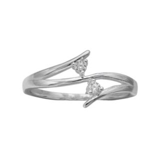 PRIMROSE Sterling Silver Cubic Zirconia 2-Stone Bypass Ring