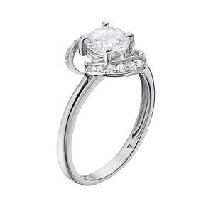 PRIMROSE Sterling Silver Cubic Zirconia Swirl Ring