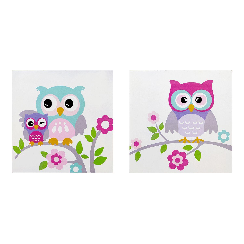 Mi Zone Kids Nocturnal Nellie Owl Wall Art 2 Piece Set Part 70