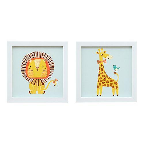 Mi Zone Kids Jungle Josh 2 Framed Wall Art 2-piece Set