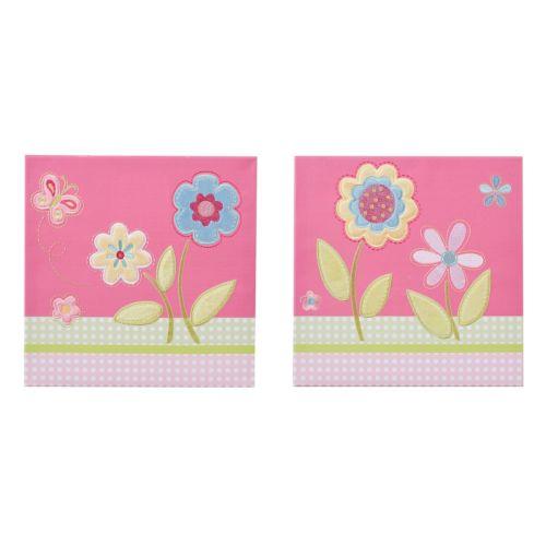 Mi Zone Kids Flower Power Embroidery Wall Art 2-piece Set