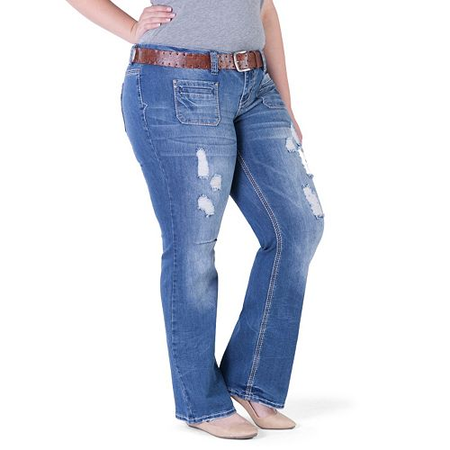 71f4d6af3e7 Juniors' Plus Size Amethyst Belted Ripped Trumpet Jeans