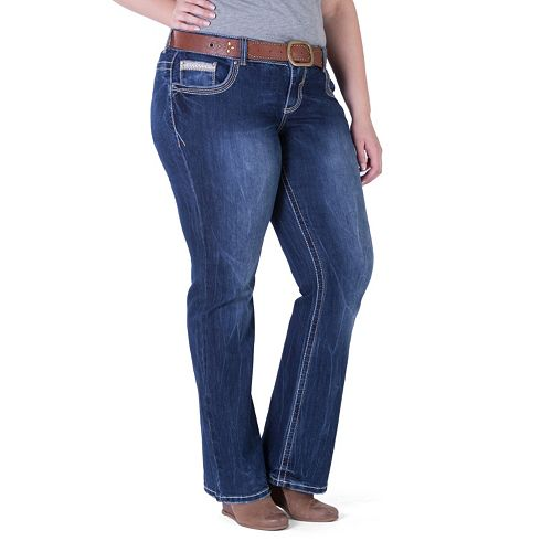 81faf949dc Juniors  Plus Size Amethyst Belted Slim Bootcut Jeans
