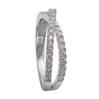 PRIMROSE Sterling Silver Cubic Zirconia Crossover Ring