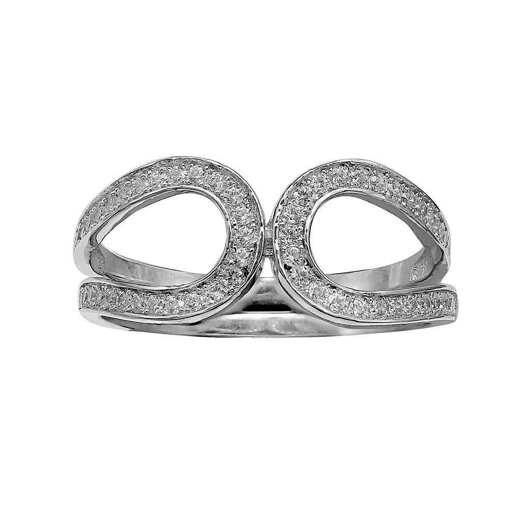 PRIMROSE Sterling Silver Cubic Zirconia Double Loop Ring