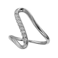 PRIMROSE Sterling Silver Cubic Zirconia Abstract Swirl Ring