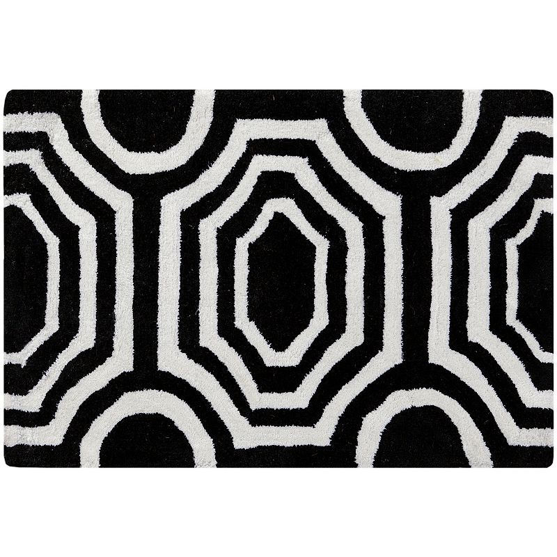 Decor 140 Grado Geometric Rug, Black, 2.5X8 Ft