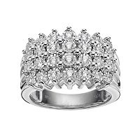 Sterling Silver 1/2 Carat T.W. Diamond Pyramid Ring