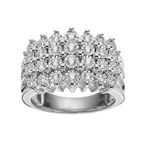 Sterling Silver 1/2 Carat T.W. Diamond Pyramid Ring