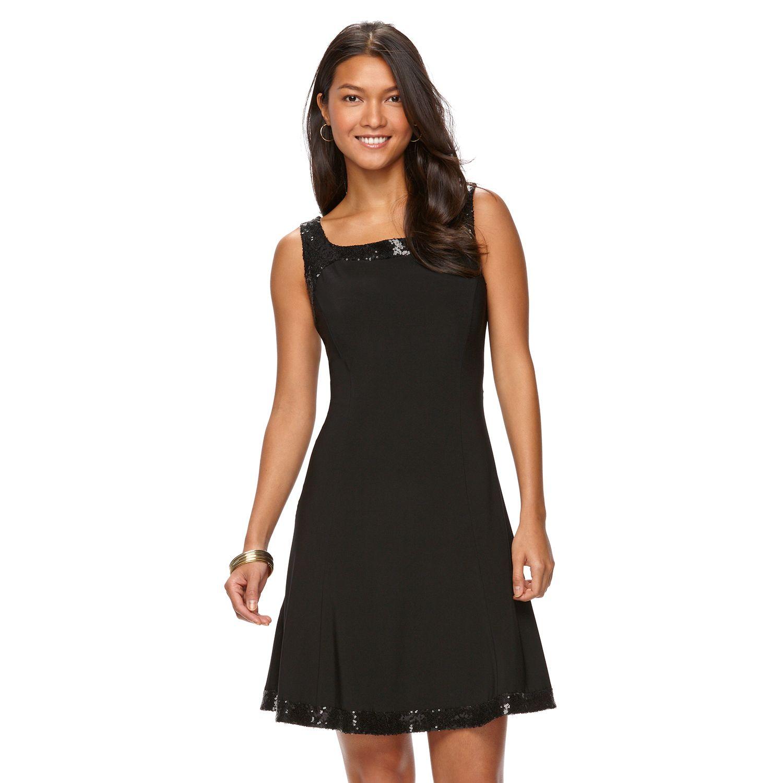 Womens Chaps Sequin-Trim Fit & Flare Dress