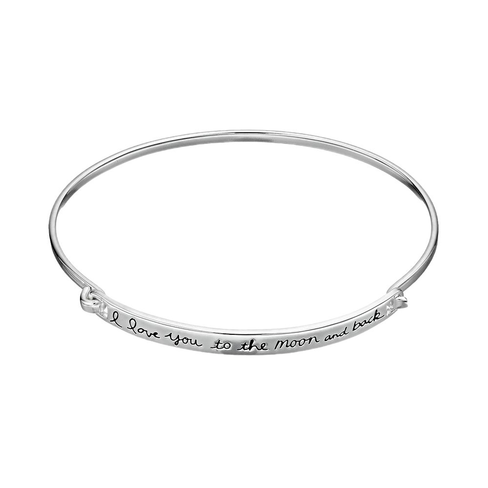 Timeless Sterling Silver I Love You To The Moon And Back Bangle Bracelet