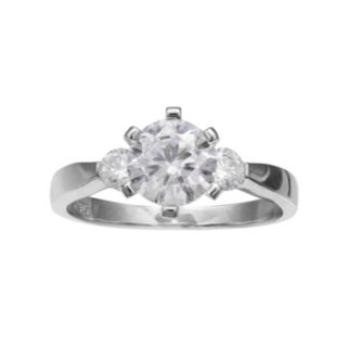 PRIMROSE Sterling Silver Cubic Zirconia 3-Stone Ring