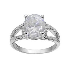 PRIMROSE Sterling Silver Cubic Zirconia Oval Ring