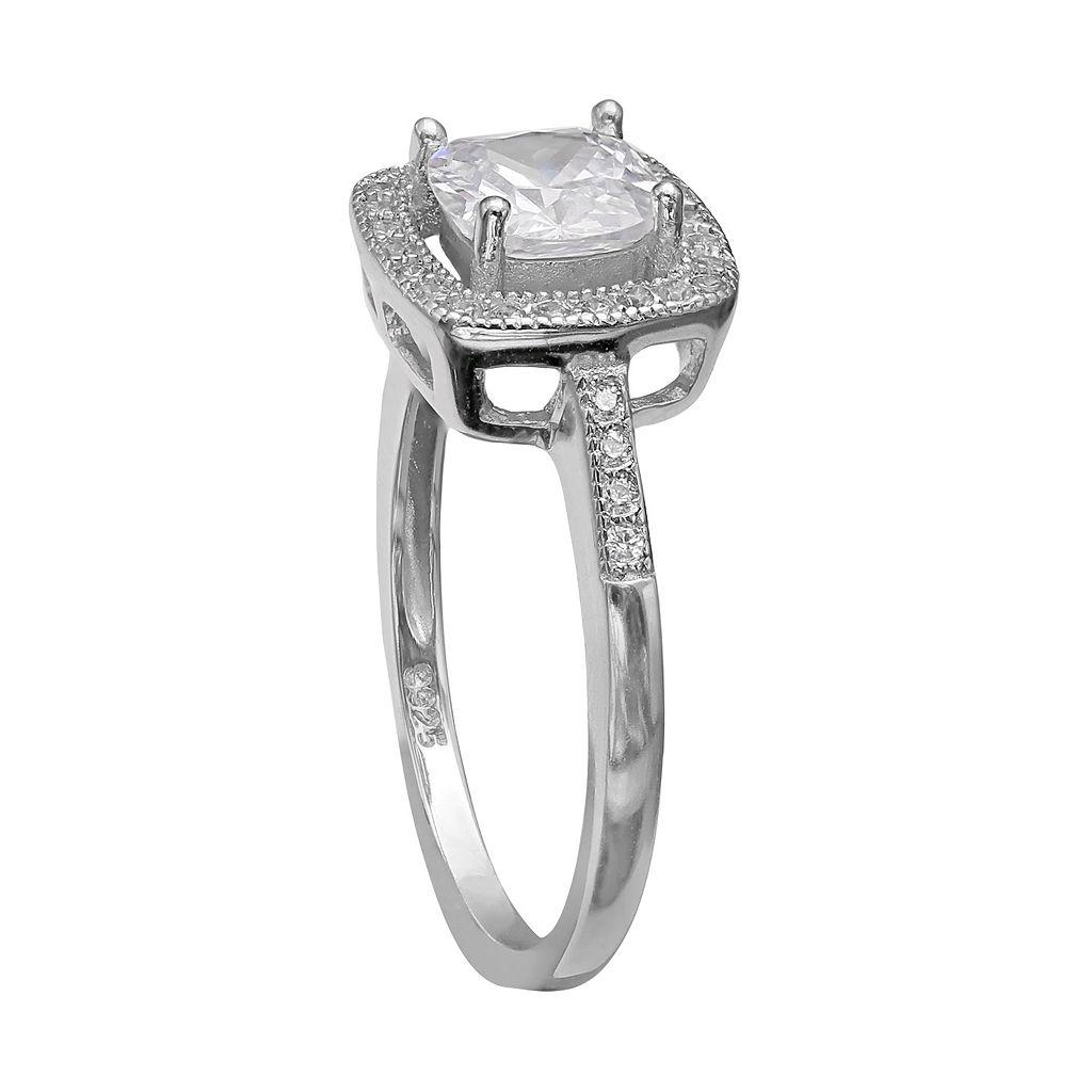 PRIMROSE Sterling Silver Cubic Zirconia Square Halo Ring