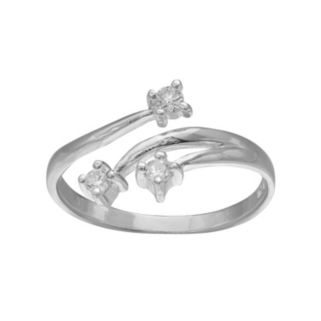 PRIMROSE Sterling Silver Cubic Zirconia 3-Stone Bypass Ring
