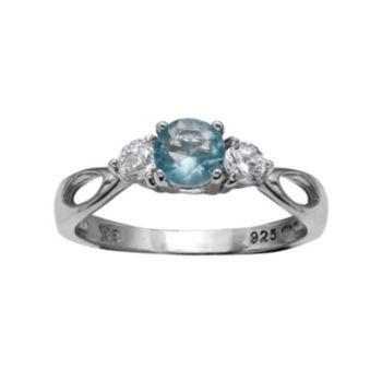 PRIMROSE Sterling Silver Blue & White Cubic Zirconia 3-Stone Ring
