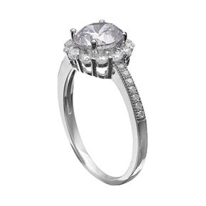 PRIMROSE Sterling Silver Cubic Zirconia Flower Ring