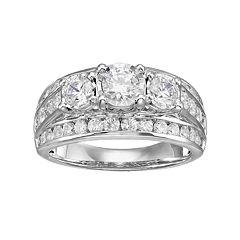 10k White Gold 2 Carat T.W. Diamond 3-Stone Multi Row Engagement Ring
