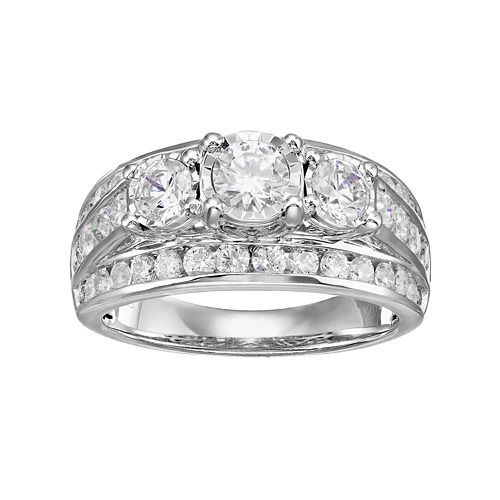 10k White Gold 2 Carat T.W. Diamond 3-Stone Multi Row Engagement Ring