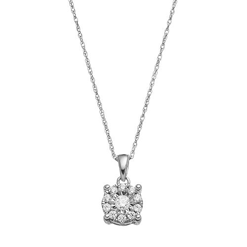 10k White Gold 1/4 Carat T.W. Diamond Pendant Necklace
